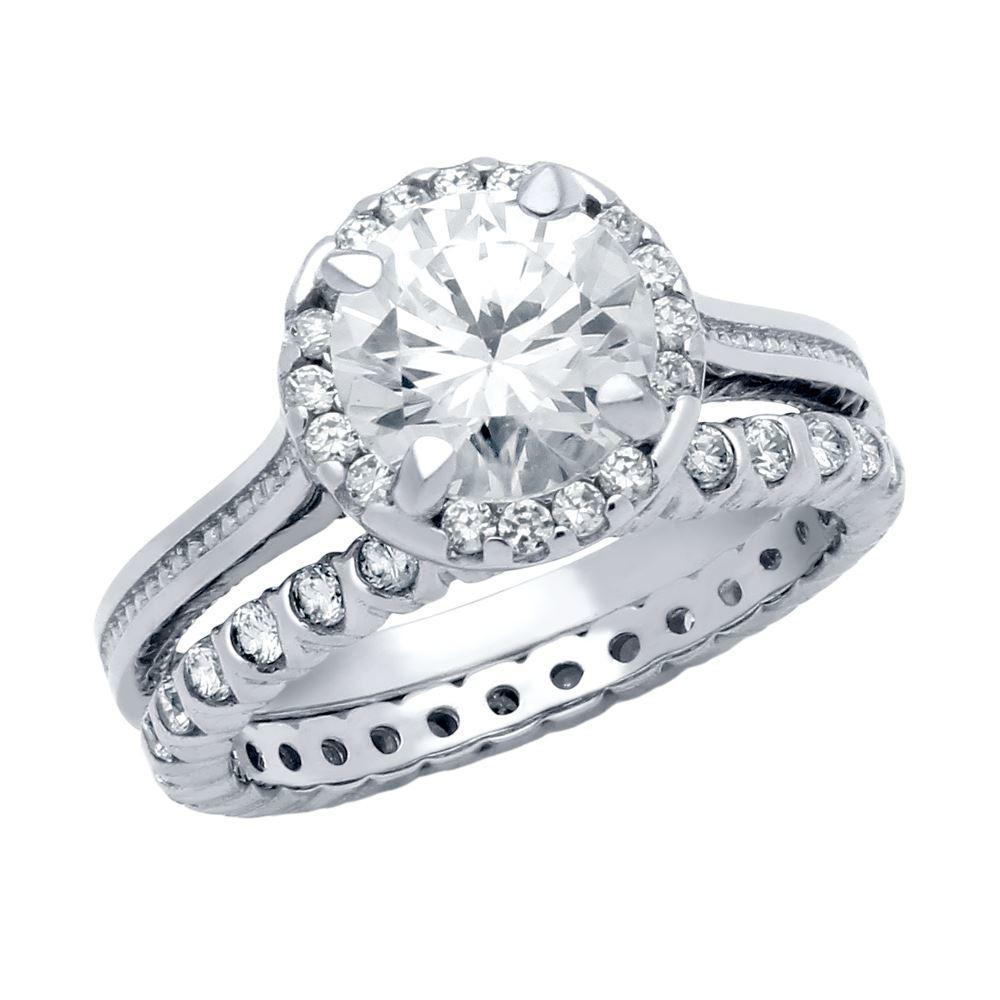 Set inele logodna argint 925 rodiat cu pietre albe_