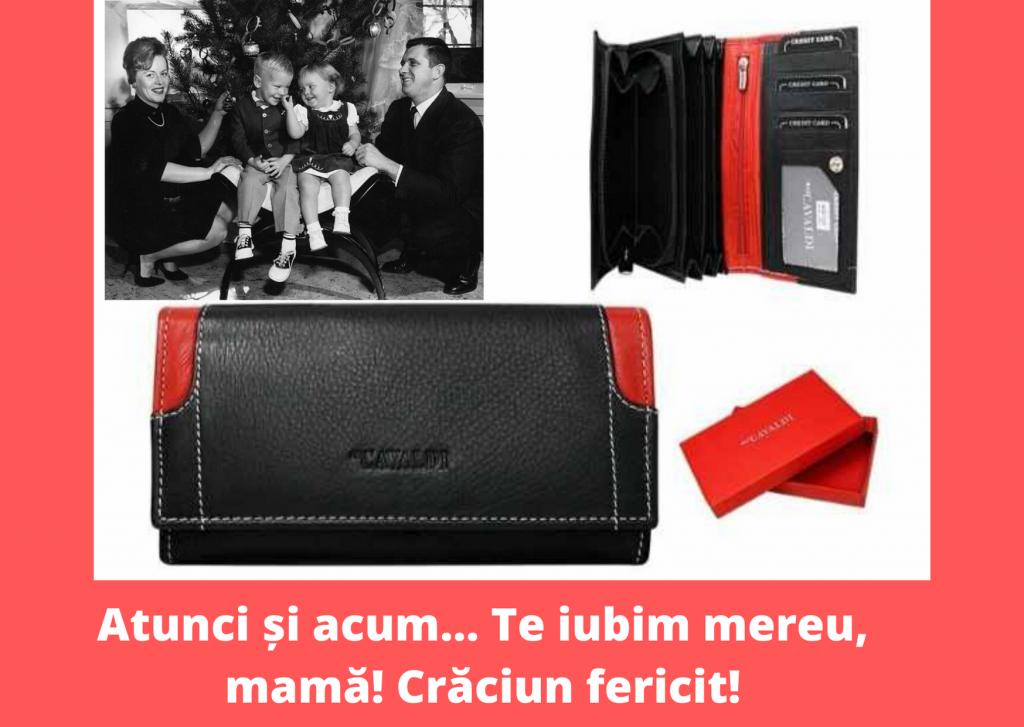 Cadou pentru mama de Craciun - portofel si foto cu mesaj