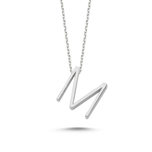 colier din argint cu initiala M